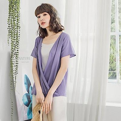 粉紫高棉交疊設計前後兩穿短袖上衣-OB嚴選