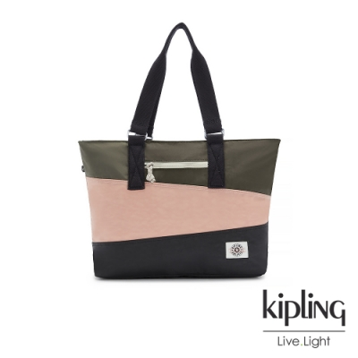Kipling 甜美草莓抹茶拿鐵拉鍊大容量托特包-JODI M