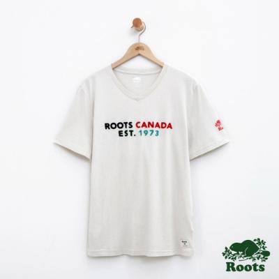 男裝Roots 喬治亞V領短袖T恤-白