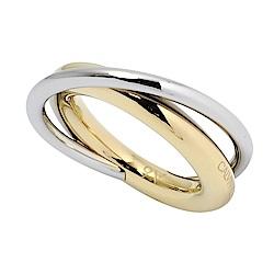 Calvin Klein CK Double簡約交織雙環銀x金戒指