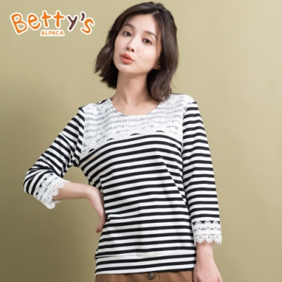 betty's貝蒂思 蕾絲條紋拼接上衣(黑白條紋)
