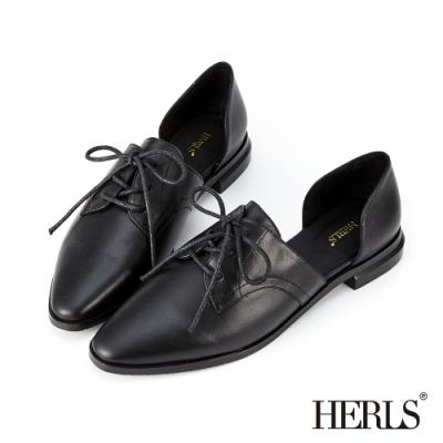HERLS 摩登女紳 全真皮側V口鏤空尖頭牛津鞋-黑色