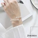 JINCHEN 純銀雙珠交叉手環