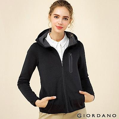 GIORDANO 女裝fleece內層刷毛連帽防風外套-01 標誌黑色