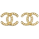 CHANEL 簍空造型裝飾雙C LOGO經典耳環(金)