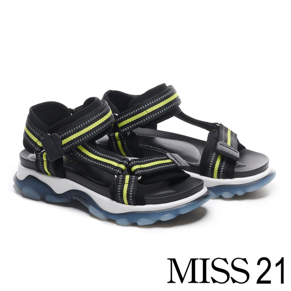 涼鞋 MISS 21 個性撞色休閒運動風厚底涼鞋-黃