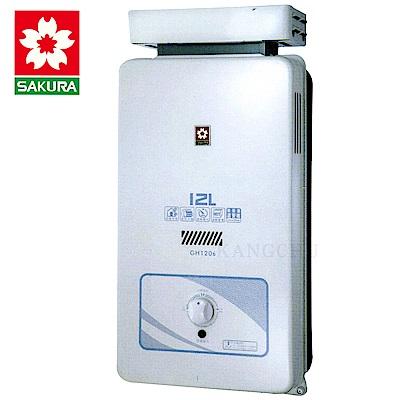 櫻花牌 GH1206 加強抗風12L屋外型熱水器(天然)