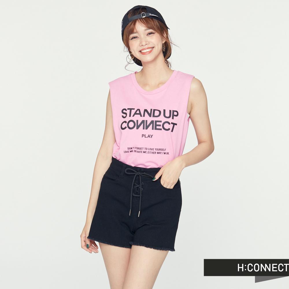 H:CONNECT 韓國品牌 女裝 -後開岔印字棉質背心-粉(快) @ Y!購物