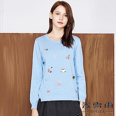 【麥雪爾】純棉水鑽刺繡針織上衣-水藍