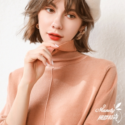 Mandy國際時尚 長袖上衣 簡約時尚高領長袖針織上衣(11色)