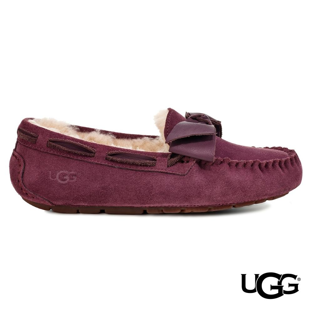 UGG女士 Dakota 絨毛皮革蝴蝶結樂福鞋 product image 1