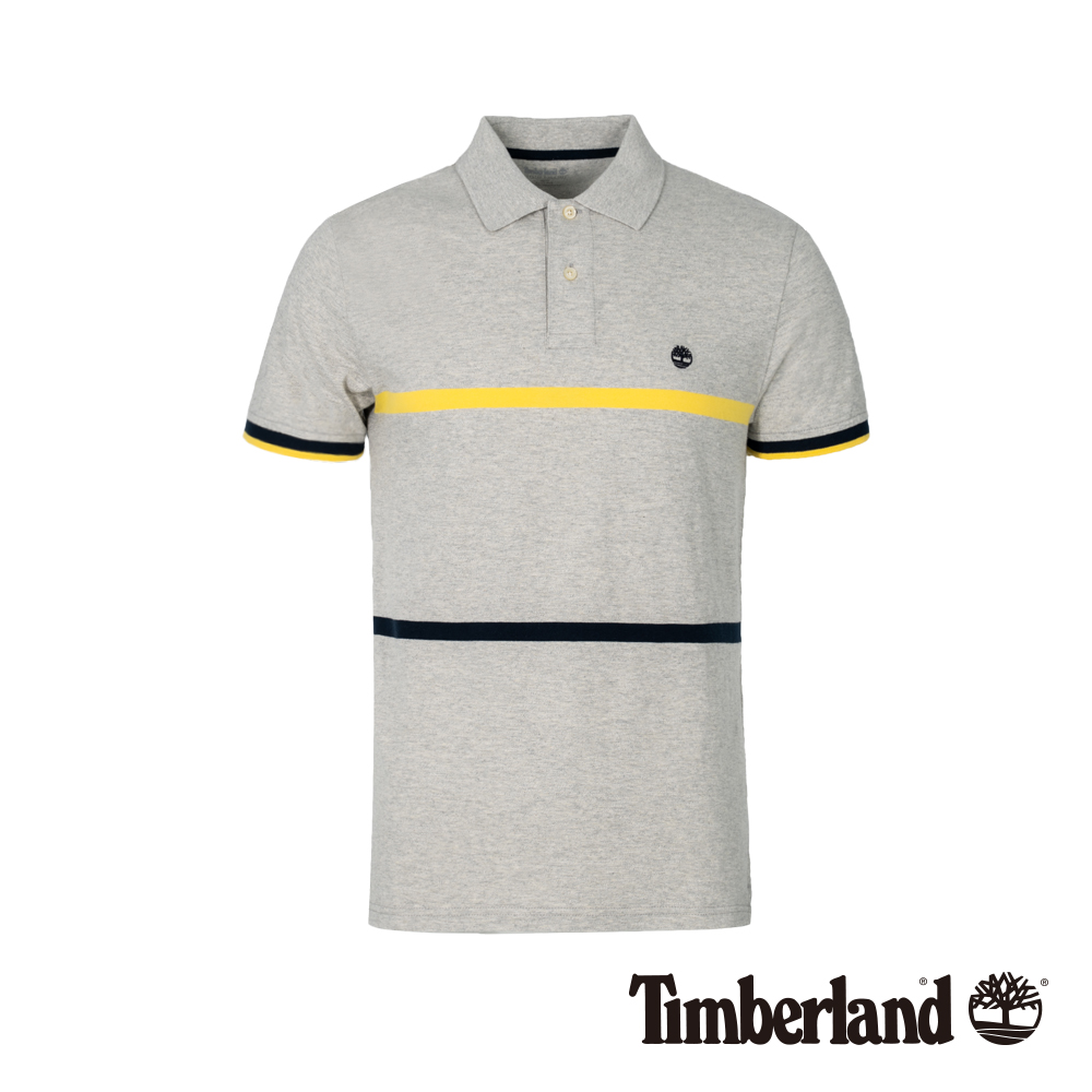 Timberland 男款灰色撞色修身短袖POLO衫|A1XG8