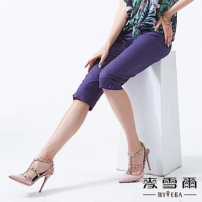 【麥雪爾】大口袋涼感八分褲-紫