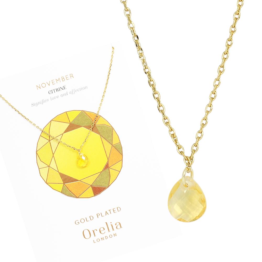 Orelia英國品牌 十一月黃水晶誕生石金色項鍊