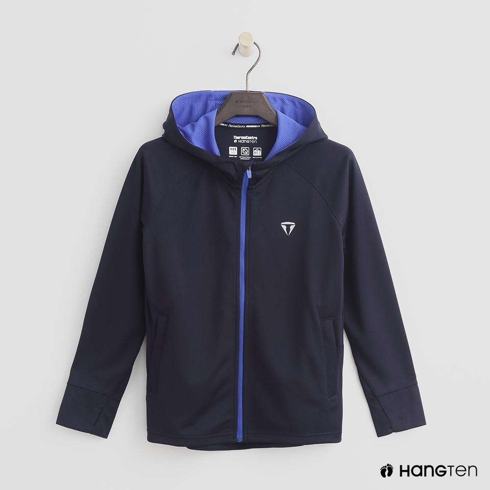 Hang Ten-童裝-ThermoContro-撞色連帽logo機能外套-深藍