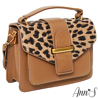 Ann'S豹紋寬版背帶手提3way小方包