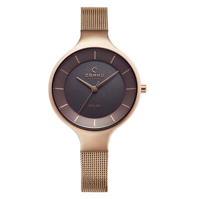 OBAKU 精美女性太陽能腕錶-玫瑰金(V221LRVNMV)/32mm