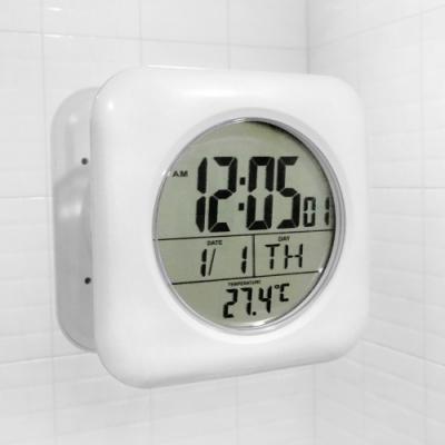 簡易清晰 廚房浴室 防潮 防水鐘 掛勾時鐘 吸盤時鐘 電子鐘 - 白色