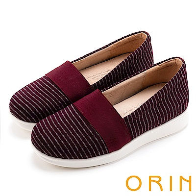 ORIN 引出度假氣氛 性格條紋平底便鞋-酒紅