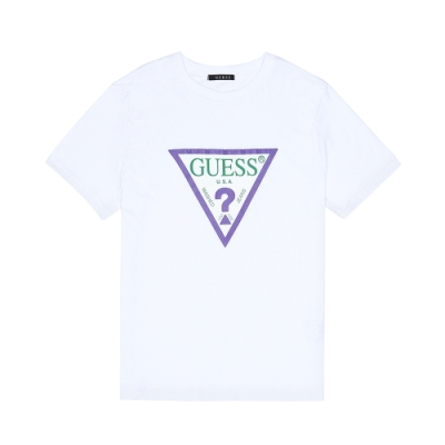 GUESS-男裝-撞色經典倒三角logo短T-白
