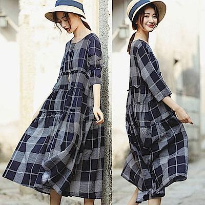 格子棉麻洋裝/設計所在 Q8513
