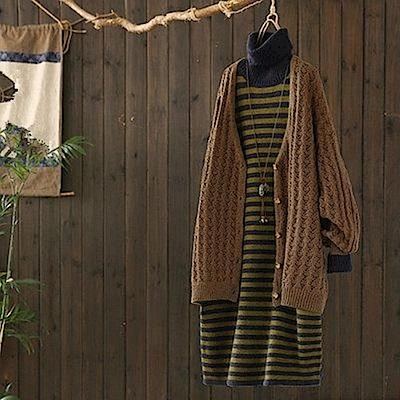 溫柔風高領條紋毛衣裙寬鬆針織衫中長洋裝-設計所在