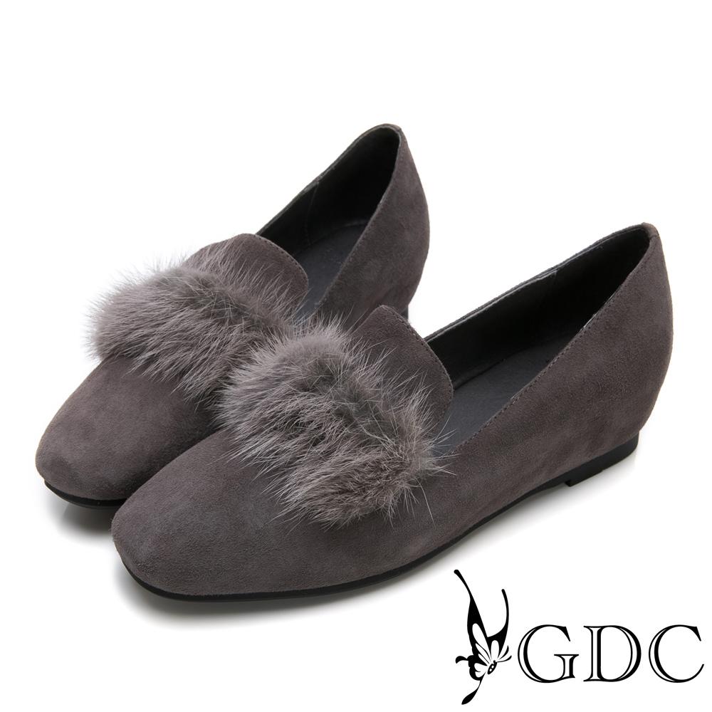 GDC-秋冬小奢華名媛貂毛微方頭內增高包鞋-灰色