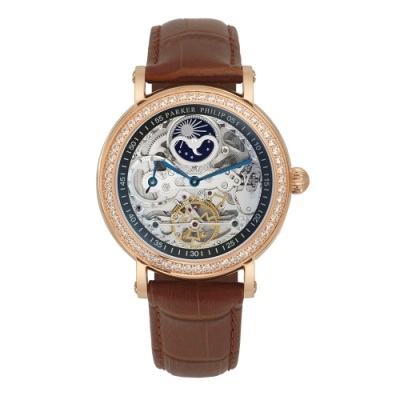 PARKER PHILIP派克菲利浦雙發條盒日月相兩地時區晶鑽鏤空擺輪限量機械腕錶(玫殻/咖帶)