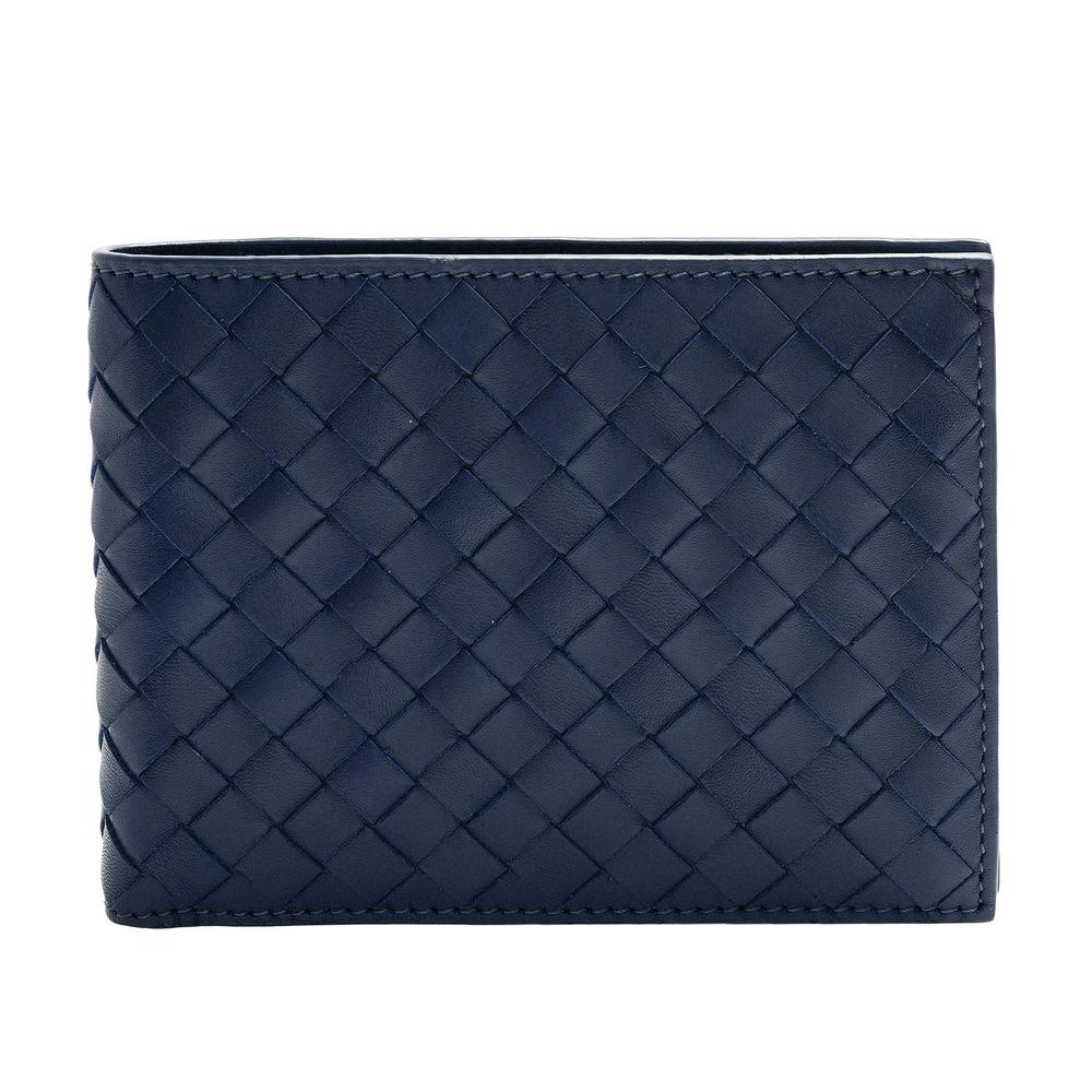 BOTTEGA VENETA 經典小牛皮編織摺疊短夾(水手藍-3卡+暗釦零錢袋) @ Y!購物