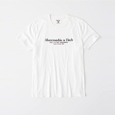 A&F 經典印刷文字短袖T恤-白色 AF Abercrombie