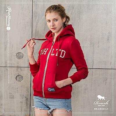 Roush 女生美式立體鋼印刷毛連帽外套(2色)