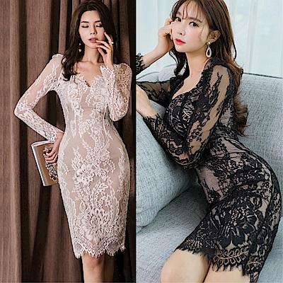 DABI 韓國風名媛氣質性感深V領蕾絲包臀長袖洋裝