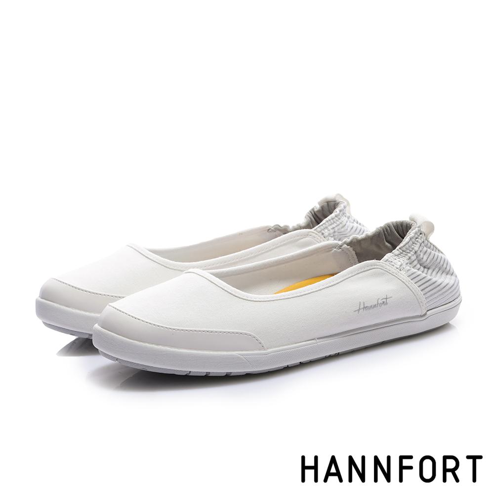 HANNFORT CALIFORNIA 海軍帆布淺口休閒鞋-女-條紋白