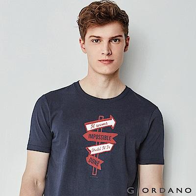 GIORDANO 男裝棉質標語印花短袖T恤-31 標志海軍藍色