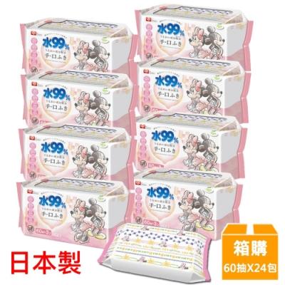日本LEC 新款迪士尼米奇米妮-口手專用純水99%濕紙巾箱購-60抽x24包入
