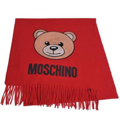 MOSCHINO 義大利製亮片小熊字母LOGO圖騰100%羊毛圍巾/披肩(紅)