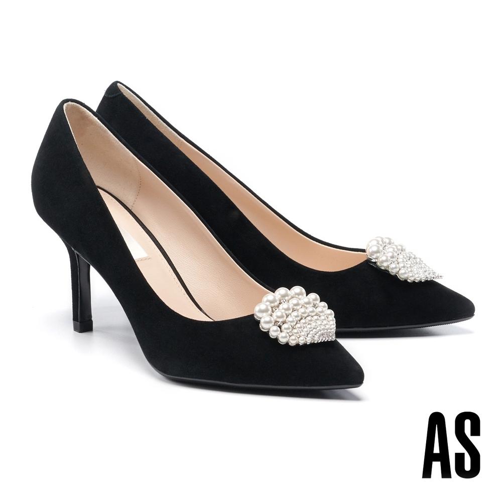 高跟鞋 AS 奢華細緻珍珠貝殼鑽飾羊麂皮美型尖頭高跟鞋-黑