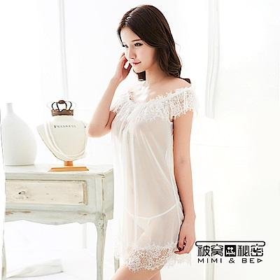 性感睡衣 蓬蓬蕾絲花一字領性感柔紗睡衣。白色 被窩的秘密