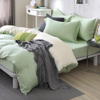 OLIVIA 玩色主義 綠 加大雙人床包歐式枕套三件組 300織膠原蛋白天絲 台灣製