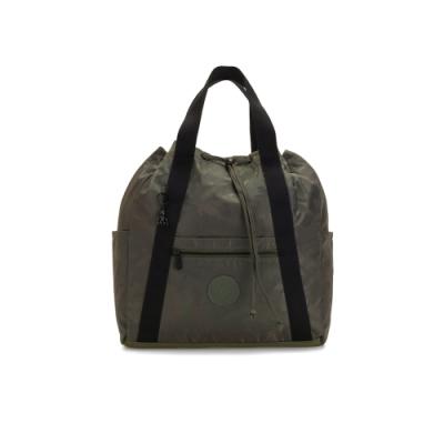 Kipling 迷彩緞灰兩用側背後背包-大-ART BACKPACK M