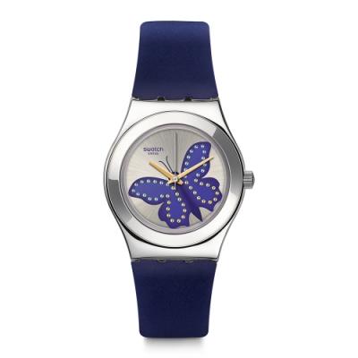 Swatch Irony 金屬系列手錶 PAPIBLU 藍蝶飛舞 -33mm