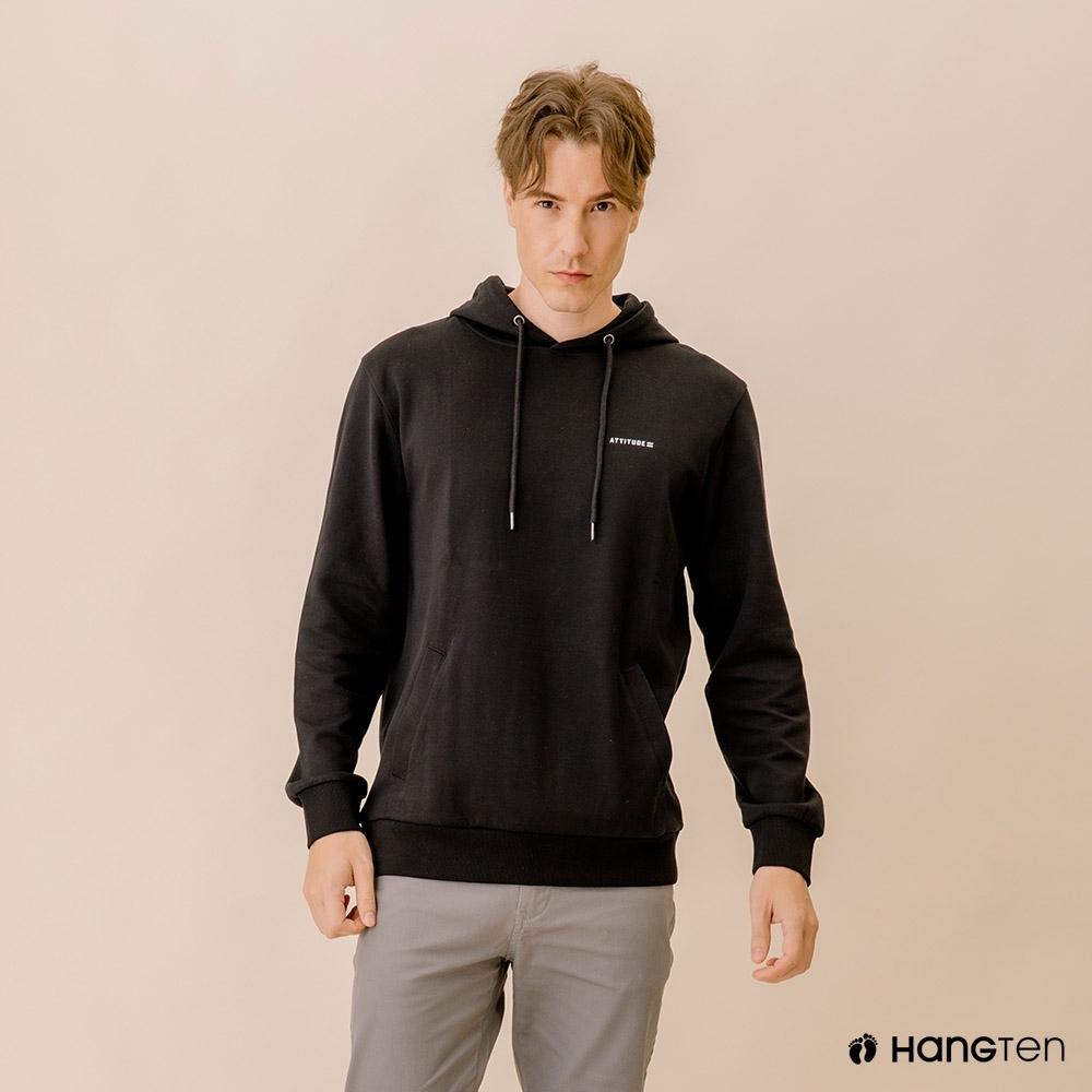 Hang Ten-男裝-潮流文字連帽T恤-黑色