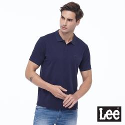 Lee Logo皮標 短袖 開襟POLO衫 男款-彈性-深藍色
