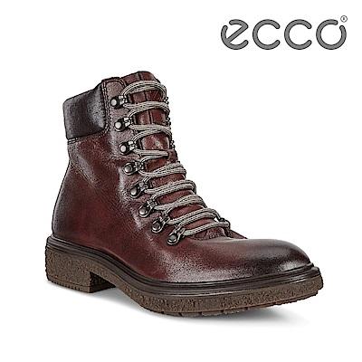 ECCO CREPETRAY HYBRID L 帥氣復古銅釦個性高筒靴 女-棕