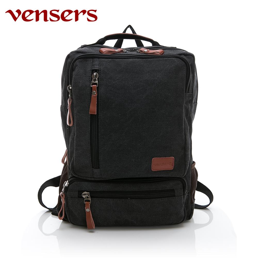 vensers 韓潮棉麻包系列~後背包(D056902黑色)