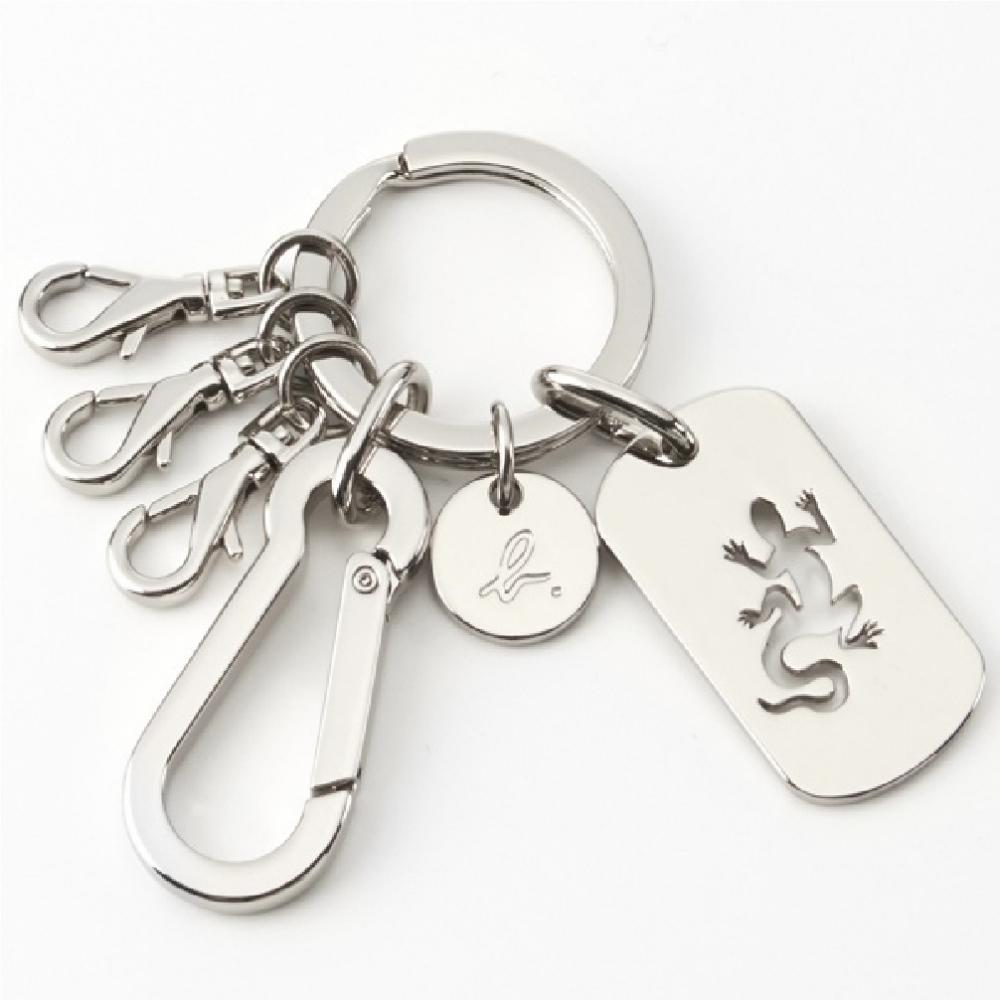 agnes b. Voyage 蜥蜴金屬logo鑰匙圈 (銀)