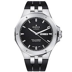 EDOX Delfin 海豚系列 專業200米日曆機械錶-黑/43mm