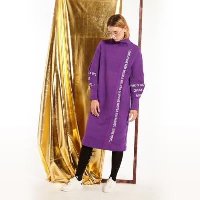 gozo 不規則主題字母印花高領洋裝(紫色)