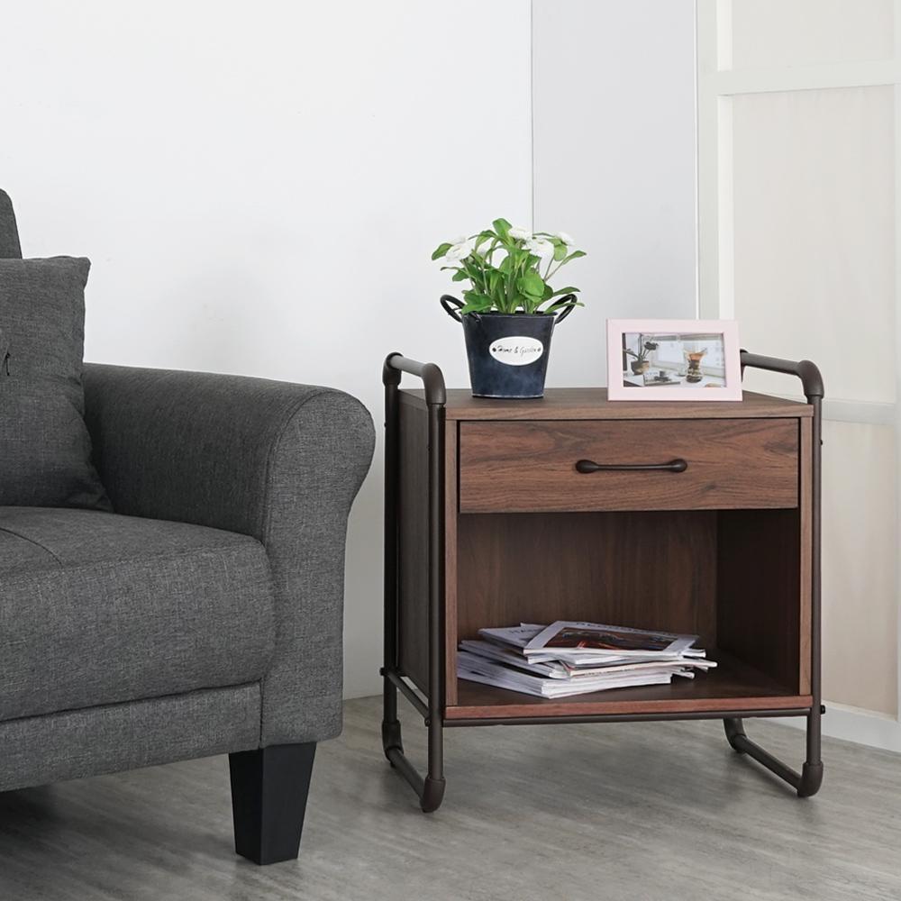 Homelike 盧卡斯工業風邊桌-55x40x60cm
