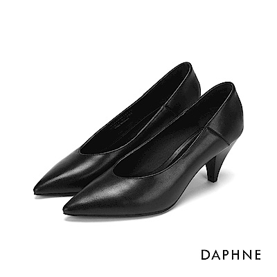 達芙妮DAPHNE 高跟鞋-真皮拼接錐型高跟鞋-黑